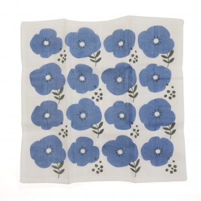 7times-layered mosquito-net fabric Kitchen Clothes (Flower Blue)