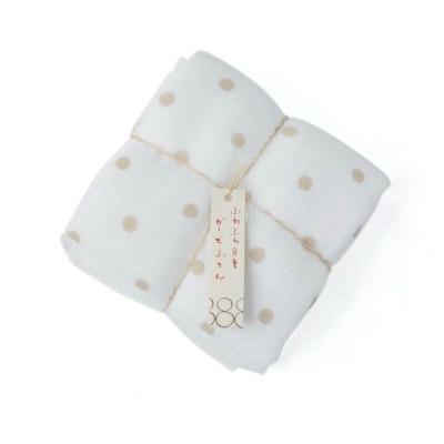 8times-layered Gauze 2pieces (Dots×Small flowers Beige)