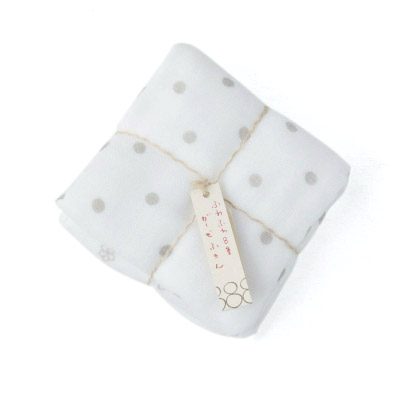 8times-layered Gauze 2pieces (Dots×Small flowers Gray)