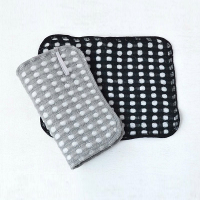 Fluffy wool-like Body Towels 2pieces (Gray×Black)
