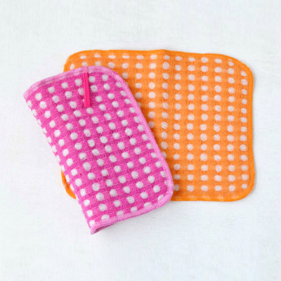 Fluffy wool-like Body Towels 2pieces (Pink×Orange)