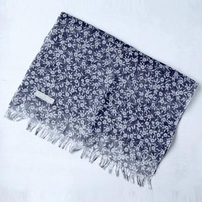 Linen cotton Shawls (Flower Navy)
