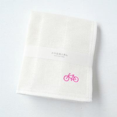かや生地ふきん 刺繍(自転車)