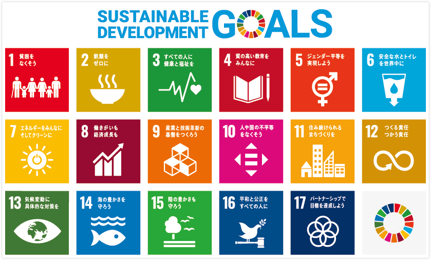 Sustainable Development Goals|1.貧困をなくそう|2.飢餓をゼロに|3.すべての人に健康と福祉を|4.質の高い教育をみんなに|5.ジェンダー平等を実現しよう|6.安全な水とトイレを世界中に|7.エネルギーをみんなに そしてクリーンに|8.働きがいも経済成長も|9.産業と技術革新の基盤をつくろう|10.人や国の不平等をなくそう|11.住み続けられるまちづくりを|12.つくる責任 つかう責任|13.気候変動に具体的な対策を|14.海の豊かさを守ろう|15.陸の豊かさも守ろう|16.平和と公正をすべての人に|17.パートナーシップで目標を達成しよう