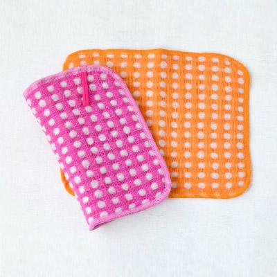 ぽこぽこ毛糸の泡立ちクロススポンジ 2枚セット(ピンク×オレンジ)