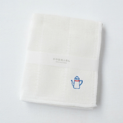 かや生地ふきん 刺繍(ポット)