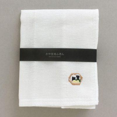 かや生地ふきん 刺繍(籠おにぎり)