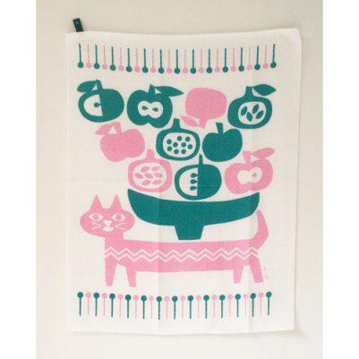 DISH CLOTH【ダイヤ織】(フルーツが好きな猫)